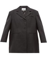 Ganni オーバーサイズ ウールブレンドジャケット - ブラック
