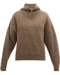 Étoile Isabel Marant Mclean Half-zip Ribbed Jumper - Brown