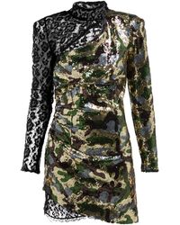 Dundas Camouflage And Leopard-lace Sequinned Mini Dress - Green