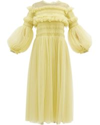 Molly Goddard Emerald Frilled Tulle Smock Dress - Yellow