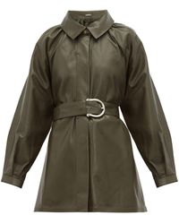 Dodo Bar Or Berry Belted Leather Jacket - Green