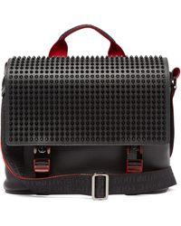 Christian Louboutin Loubiclic Spike-embellished Leather Cross-body Bag - Black