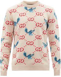 Gucci GG&アニマルインターシャ ウールセーター - ピンク