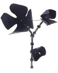 Marni Flower And Crystal-embellished Brooch - Blue
