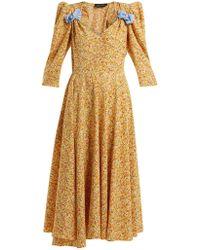 Anna October - Bow-embellished Floral-print Dress - Lyst