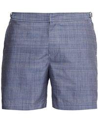 Orlebar Brown Bulldog Check Stitched Chambray Swim Shorts - Blue