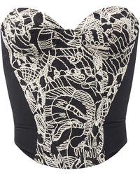 Vivienne Westwood Embroidered Wool-blend Bustier Top - Black