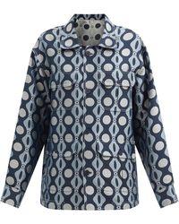Charles Jeffrey LOVERBOY キャタピラープリント シャツジャケット - ブルー