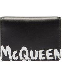 Alexander McQueen グラフィティ レザーカードケース - ブラック