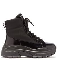 Prada Lace-up Canvas And Leather Boots - Black