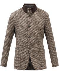 Giorgio Armani ベッカム ウールツイード シングルジャケット - マルチカラー