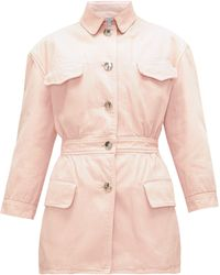 Prada Gathered-waist Denim Jacket - Pink
