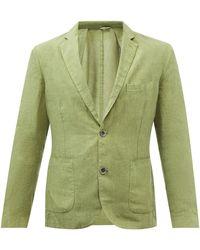120% Lino Single-breasted Linen Jacket - Green