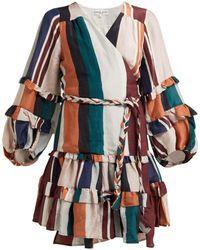 Apiece Apart Zarza Striped Linen Blend Wrap Dress - Multicolor