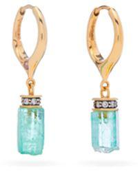 Noor Fares Emerald 18kt Gold, Diamond, Sapphire Drop Earrings - Green