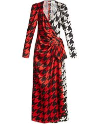 The Attico Pat Hound's Tooth Checked Satin Wrap Dress - Red