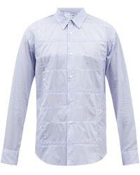 Comme des Garçons Comme Des Garçons Shirt パネル シャドーストライプ コットンポプリンシャツ - ブルー