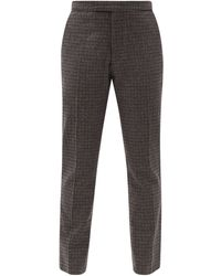 Raf Simons Zip-cuff Check Wool-blend Tailored Trousers - Grey