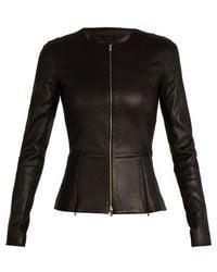 The Row Anaste Collarless Leather Jacket - Black