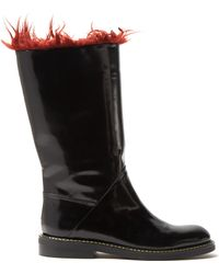 Marni | Faux-fur Trimmed Leather Boots | Lyst