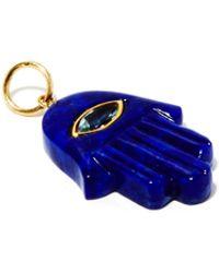 Jacquie Aiche Hamsa Aquamarine, Lapis Lazuli & 14kt Gold Charm - Blue
