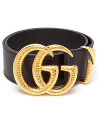 Gucci Snakeskin-effect Gg-logo Leather Belt - Black