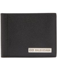 Balenciaga グレインレザー バイフォールドウォレット - ブラック