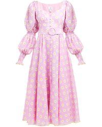 Gül Hürgel Floral Print Linen Midi Dress - Pink