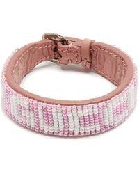 Gucci ビーズロゴ レザーブレスレット - ピンク