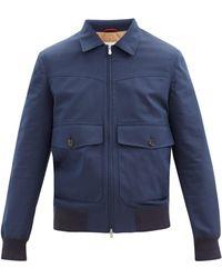 Brunello Cucinelli パッチポケット ウールブレンドギャバジン ジャケット - ブルー
