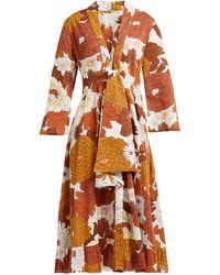 Dodo Bar Or Charlotte Floral-print Cotton Midi Dress - Brown