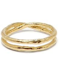 Pearls Before Swine - Double Band Textured Gold Plated Ring - Lyst