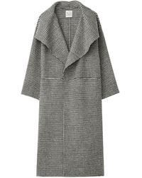 Totême Annecy Shawl-lapel Wool-blend Houndstooth Coat - Black