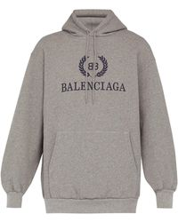 Balenciaga Crest Logo Cotton Jersey Hooded Sweatshirt - Gray