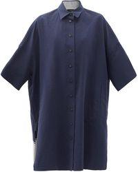 JOSEPH ベイカー リネンブレンドシャツドレス - ブルー