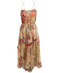 Zimmermann - Melody Floating Floral-print Silk Dress - Lyst