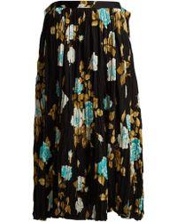 Junya Watanabe - Floral-print Pleated Midi Skirt - Lyst