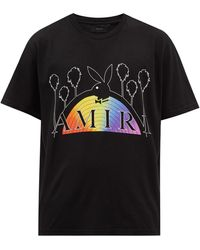 Amiri X Playboy レインボー ロゴ コットンtシャツ - ブラック
