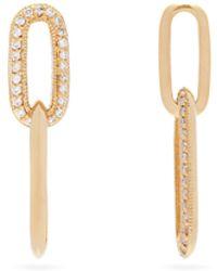 Lizzie Mandler ダイヤモンド 18kゴールドリンクドロップピアス - ブラウン