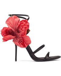 Dolce & Gabbana - シルクフラワー サテンサンダル - Lyst
