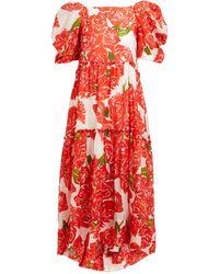 RHODE Aurora Rose-print Voile Midi Dress - Red