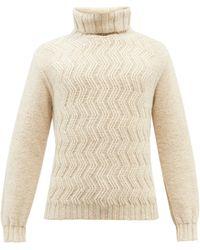 Inis Meáin Roll-neck Chevron Merino Wool-blend Jumper - Natural