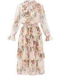 Zimmermann Brighton Tiered Floral-print Silk-georgette Dress - Multicolour