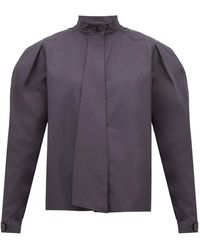 Lemaire Box-pleat Drape-tie Cotton Blouse - Gray