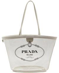 7d98e4fe7d89 Lyst - Prada Logo Print Pvc Tote in White