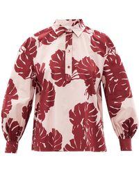 La DoubleJ Poet Monstera-print Cotton-poplin Shirt - Pink
