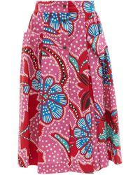 RHODE Tiana Floral-print Cotton-poplin Midi Skirt - Pink