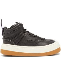 Eytys Delta Tumbled High-top Leather Sneakers - Black