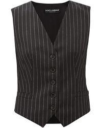 Dolce & Gabbana Chalk-striped Wool-blend Waistcoat - Grey