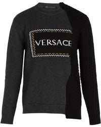 Versace - Logo Intarsia Wool Blend Sweater - Lyst